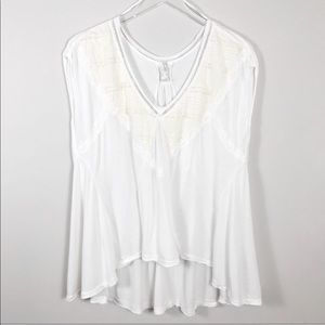 Free People | White and Cream Lace Oversized Shirt
